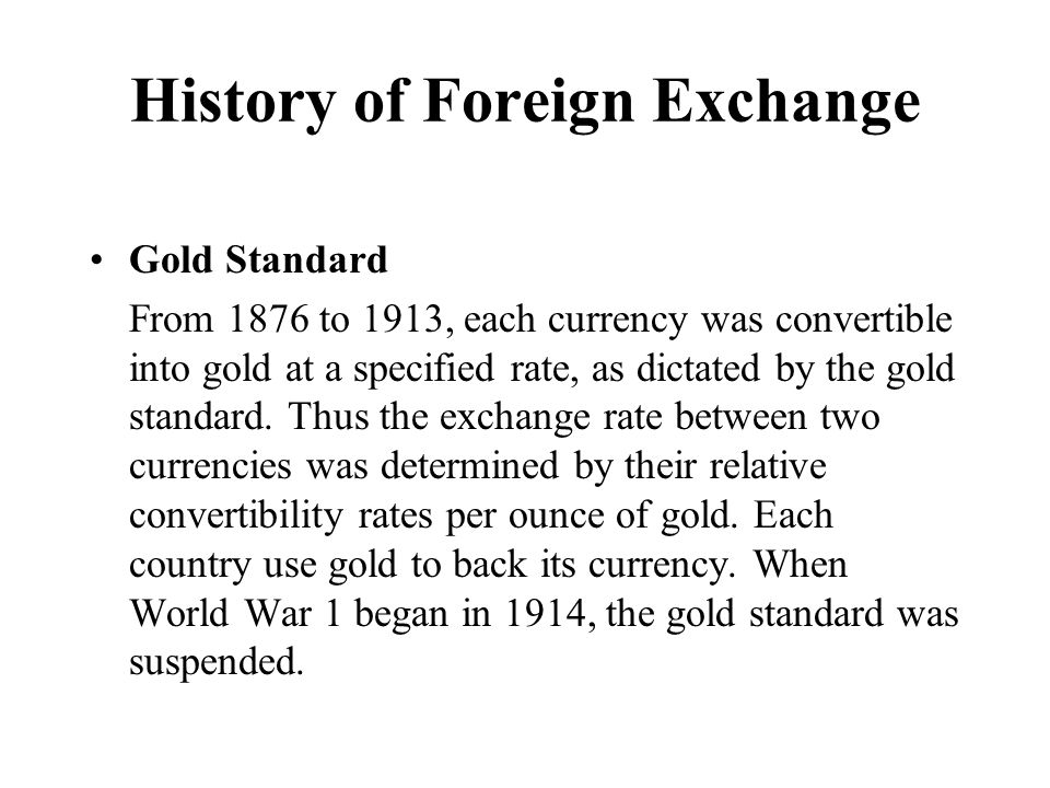 History of foreign exchange