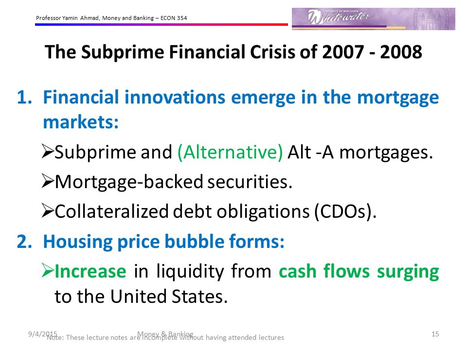 the subprime mortgage bubble Along with historically low interest rates, this lead to an explosion in subprime lending, which fueled the housing bubble and spread toxic mortgages throughout the financial system rather than a failure of the free market, the federal government was directly complicit in the mortgage market's spectacular ramp-up and eventual collapse.
