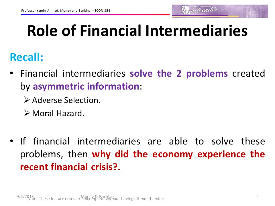 Reasons for financial disintermediation