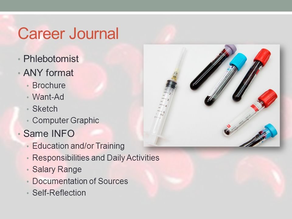 Career Journal Phlebotomist ANY format Same INFO Brochure Want-Ad