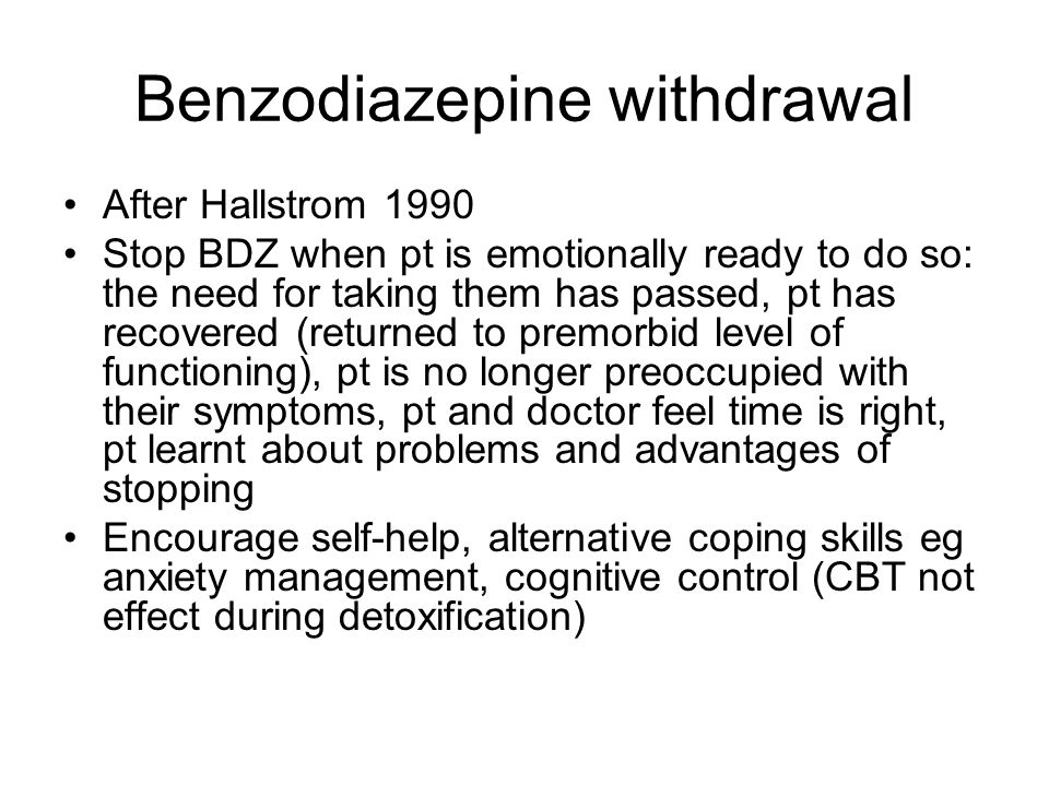 how to help benzo withdrawal