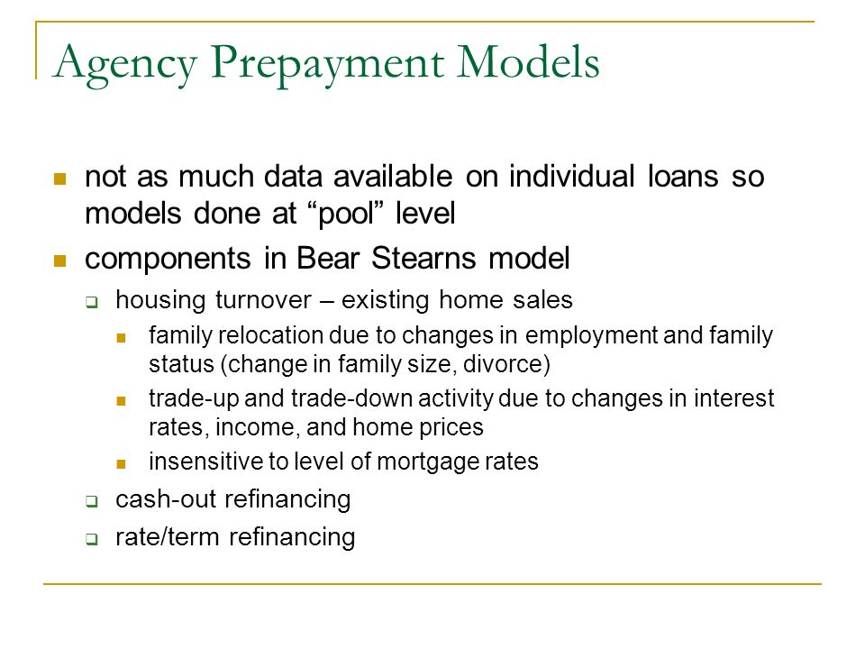 Mortgage pass through securities ppt video online download for Model agency apartments