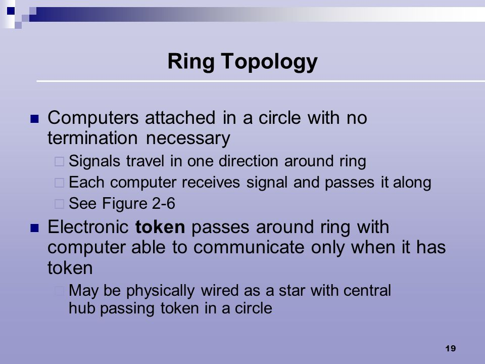 Ring Topology Computers attached in a circle with no termination necessary. Signals travel in one direction around ring.