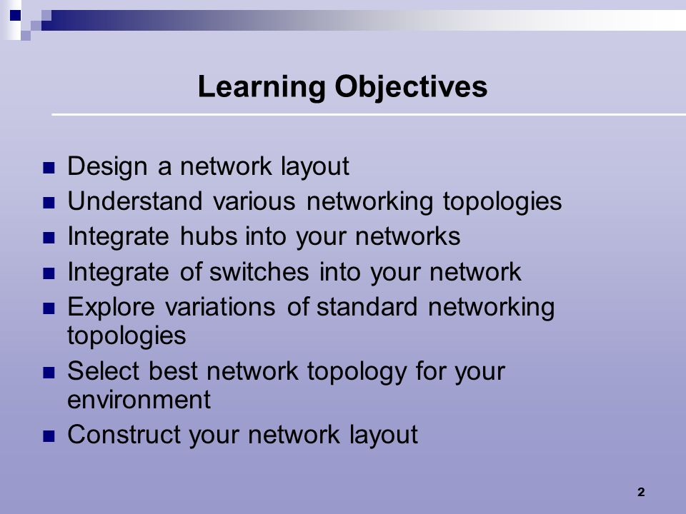 Learning Objectives Design a network layout