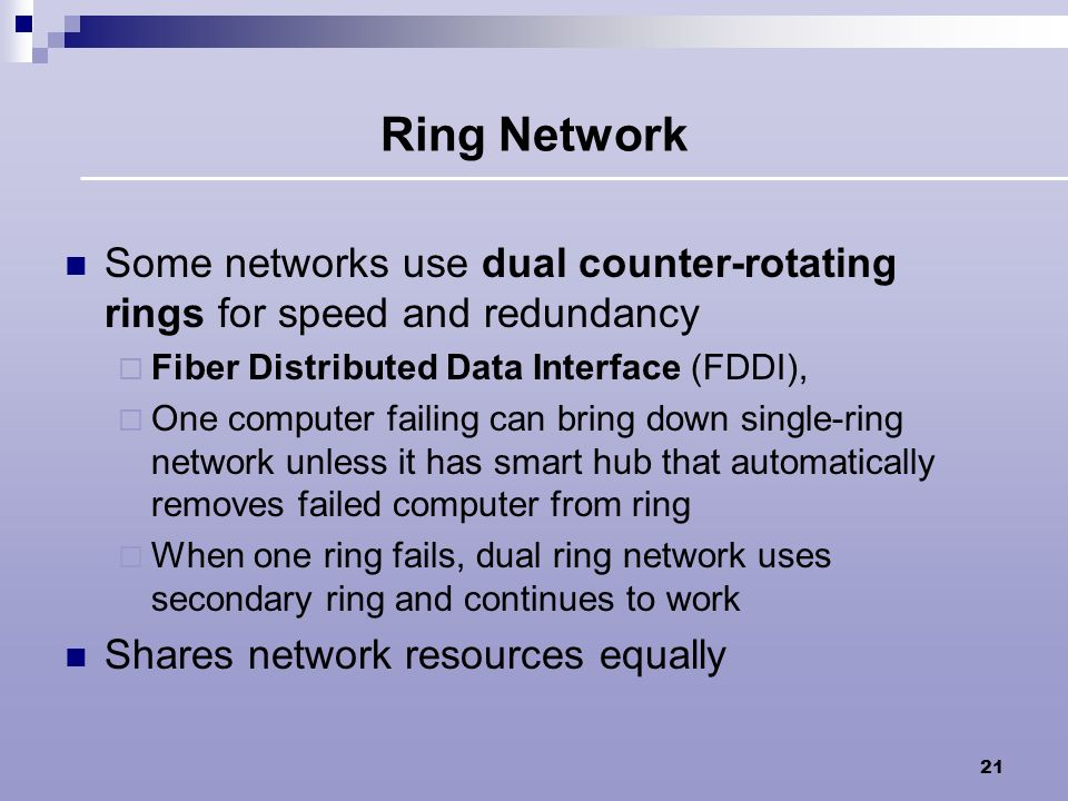 Ring Network Some networks use dual counter-rotating rings for speed and redundancy. Fiber Distributed Data Interface (FDDI),
