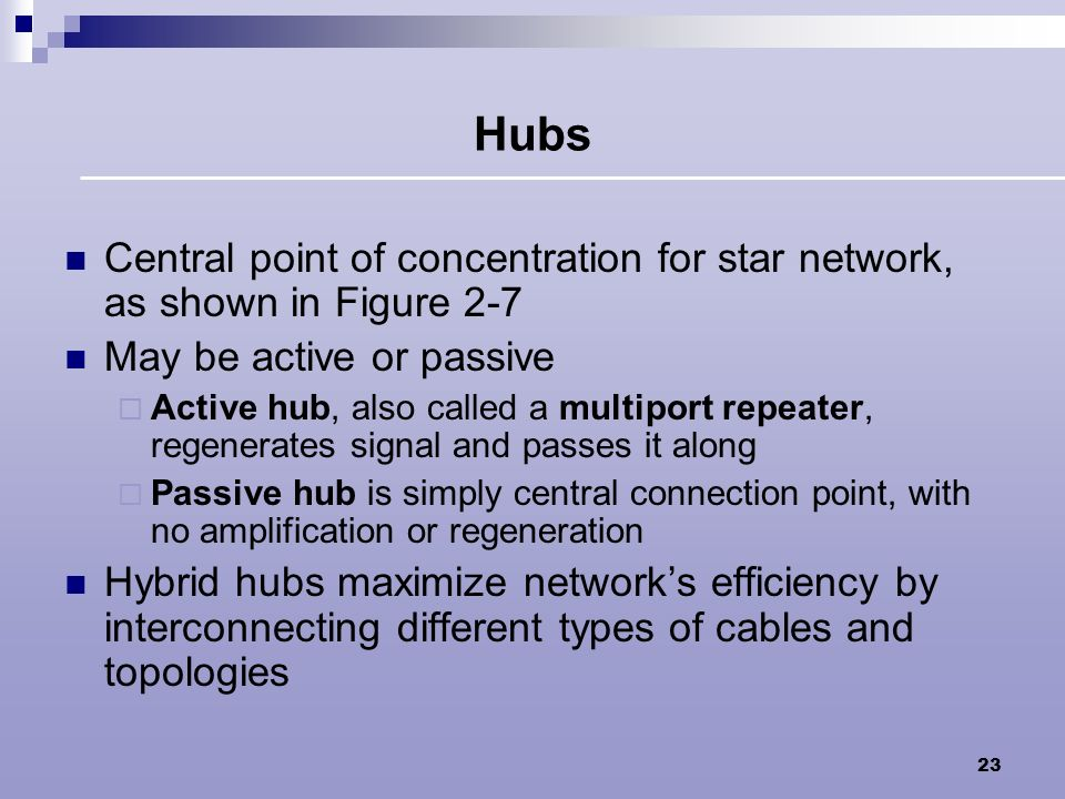 Hubs Central point of concentration for star network, as shown in Figure 2-7. May be active or passive.