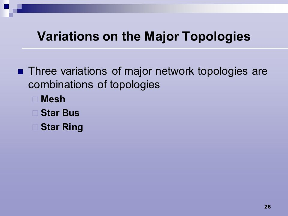 Variations on the Major Topologies