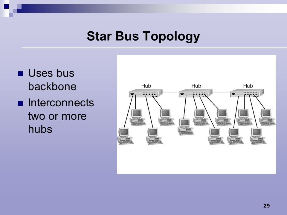 Star Bus Topology Uses bus backbone Interconnects two or more hubs