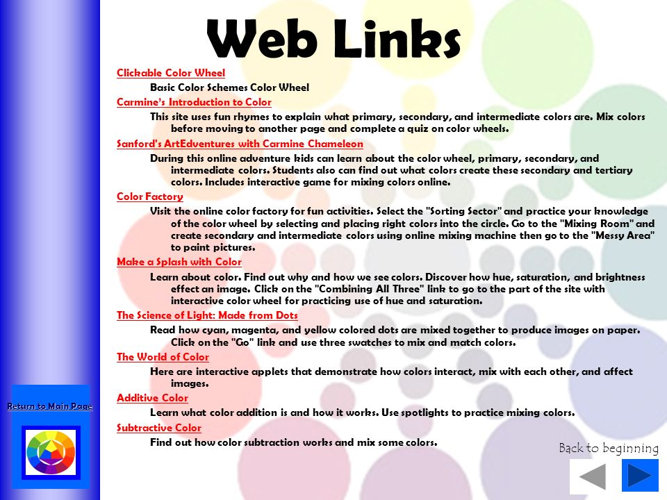 Web Links Back To Beginning Clickable Color Wheel