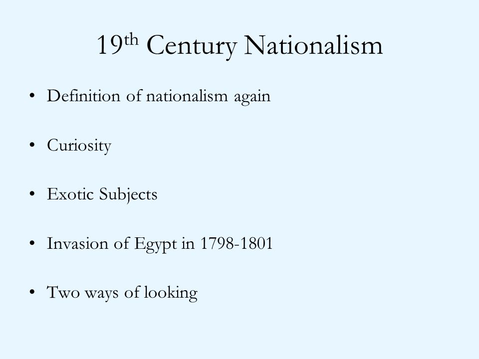 19th Century Nationalism