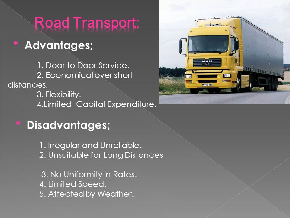disadvantages of road transport Ielts writing task 2 sample 18 - discuss the advantages and disadvantages of having a car details last updated: wednesday, 28 september 2016 00:05.