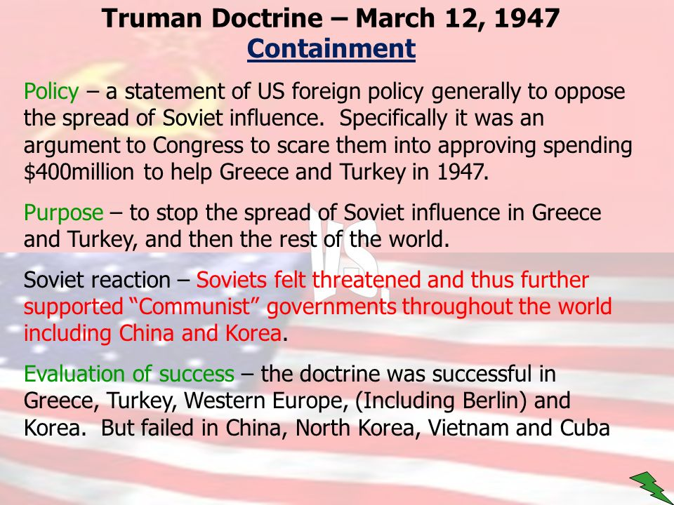 truman doctrine thesis statement Grave doubts about the efficacy of the truman doctrine have also been cast by the continued spread of communism beginning with the communist victory in china in 1949 and the korean war in 1950 this thesis is devoted to determining the real impact of the distribution statement : approved for.