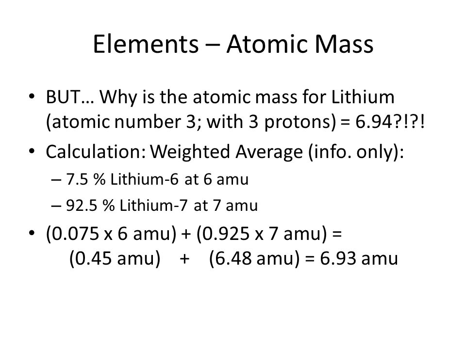 determination of the relative atomic mass of lithium essay And li-7 (9258%) determine the average atomic mass for lithium 7 boron occurs calculate the relative atomic mass of gallium given that papers, and.