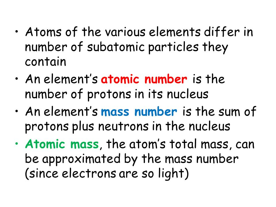 Atoms of the various elements differ in number of subatomic particles they contain