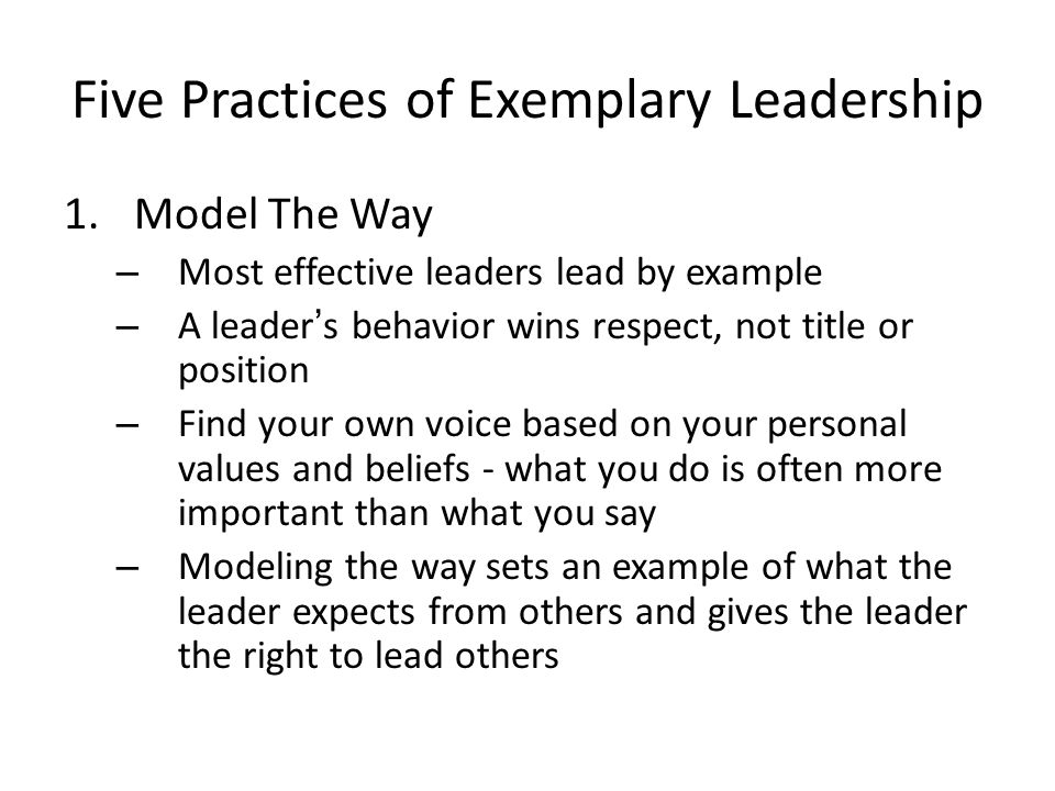 five practices of exemplary leadership essay Overview of activities and classroom assignments used with the five practices of exemplary leadership the leadership challenge forum august 2010.