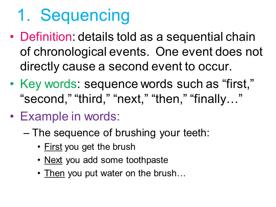 Sequencing Definition: Details Told As A Sequential Chain Of Chronological  Events. One