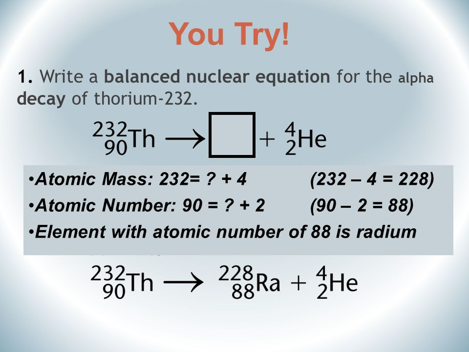 What is the nuclear equation for the decay of radium-226?