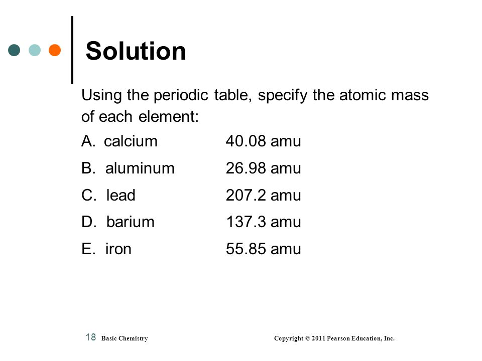 Chapter 4 atoms and elements ppt video online download solution using the periodic table specify the atomic mass urtaz Choice Image