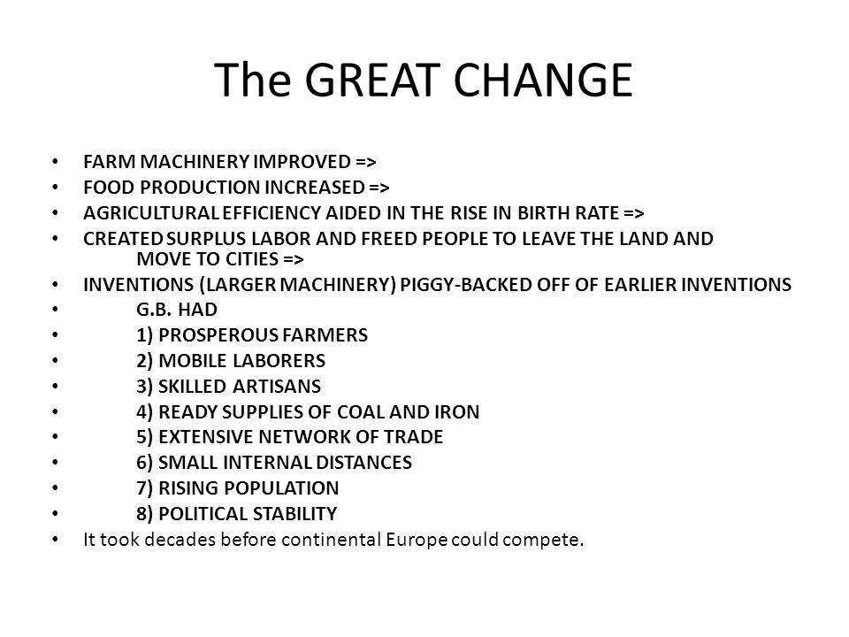 The GREAT CHANGE FARM MACHINERY IMPROVED =>