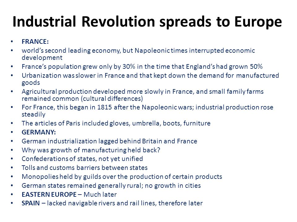 Industrial Revolution spreads to Europe