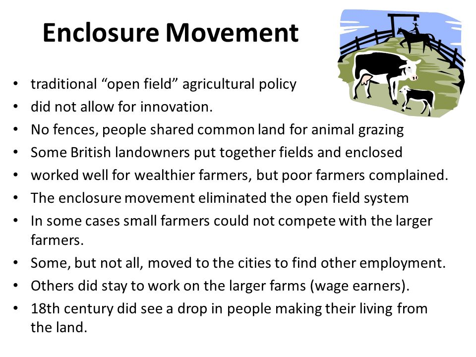 Enclosure Movement traditional open field agricultural policy