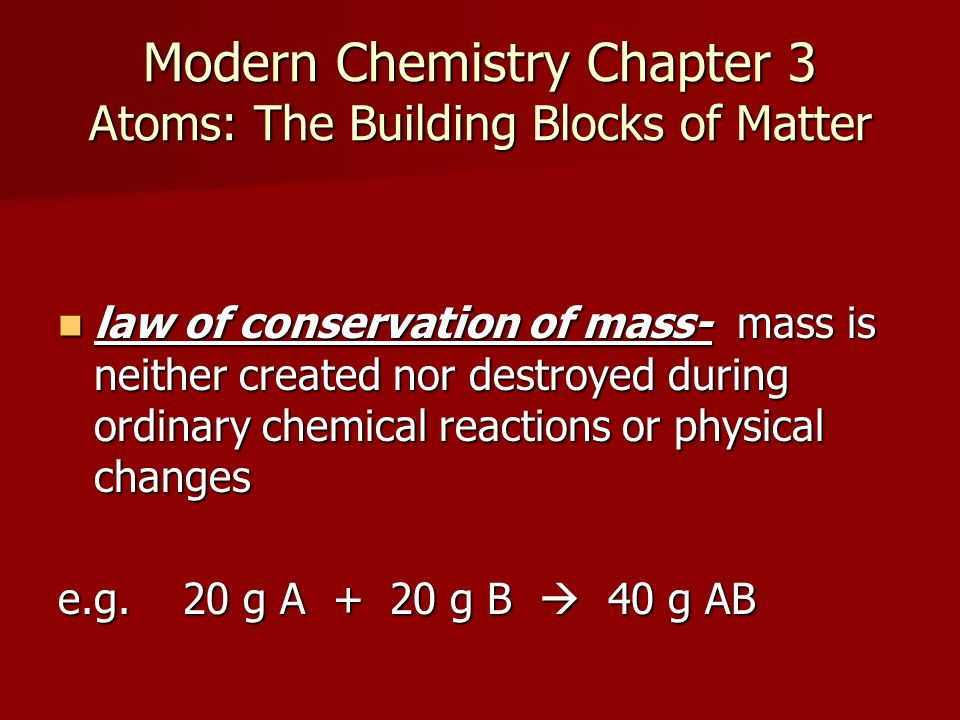 Modern Chemistry Chapter 3 Atoms The Building Blocks Of Matter
