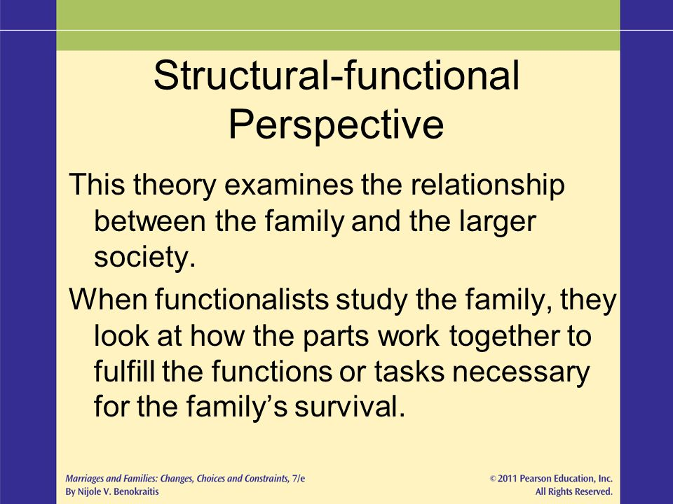 examine the functionalist perspective to families Functionalists and marxist diverse had views on the family functionalist theory asserts that there will be a specific pattern of family organisation corresponding to different types of society.