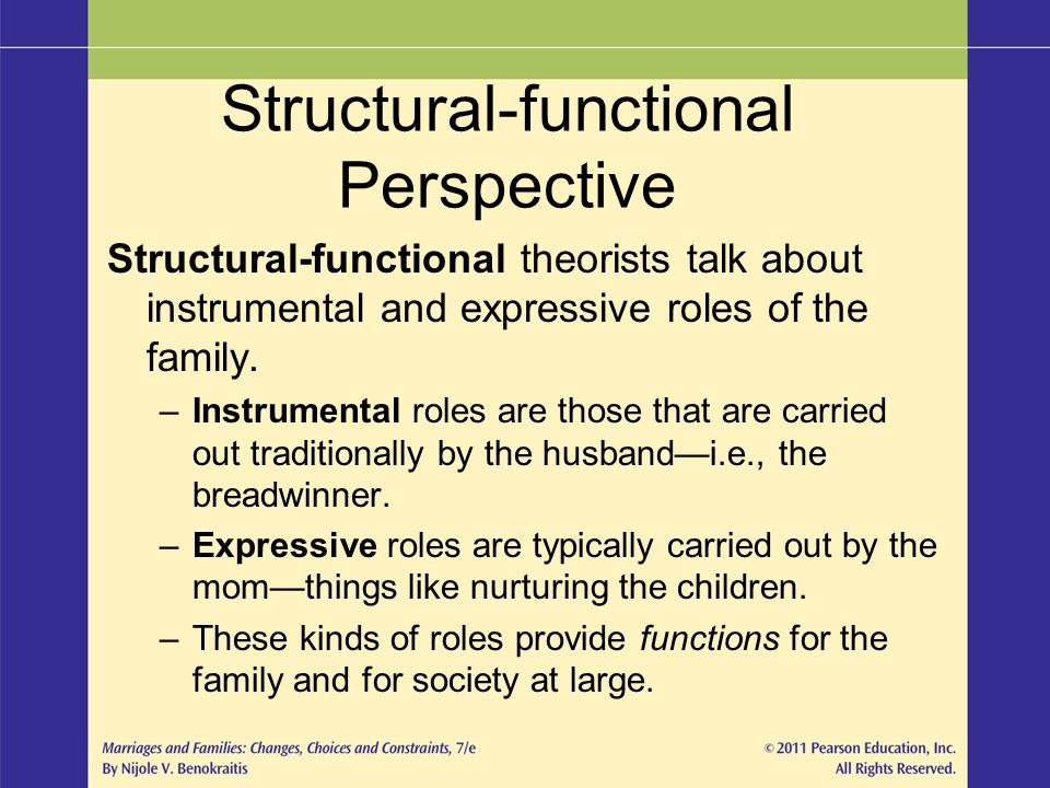 structural functional approach of the roles of family in our society Structural-functional theory, or structural functionalism, views society as a system of functional and interconnected units that work together as a whole to produce a state of stability and order.