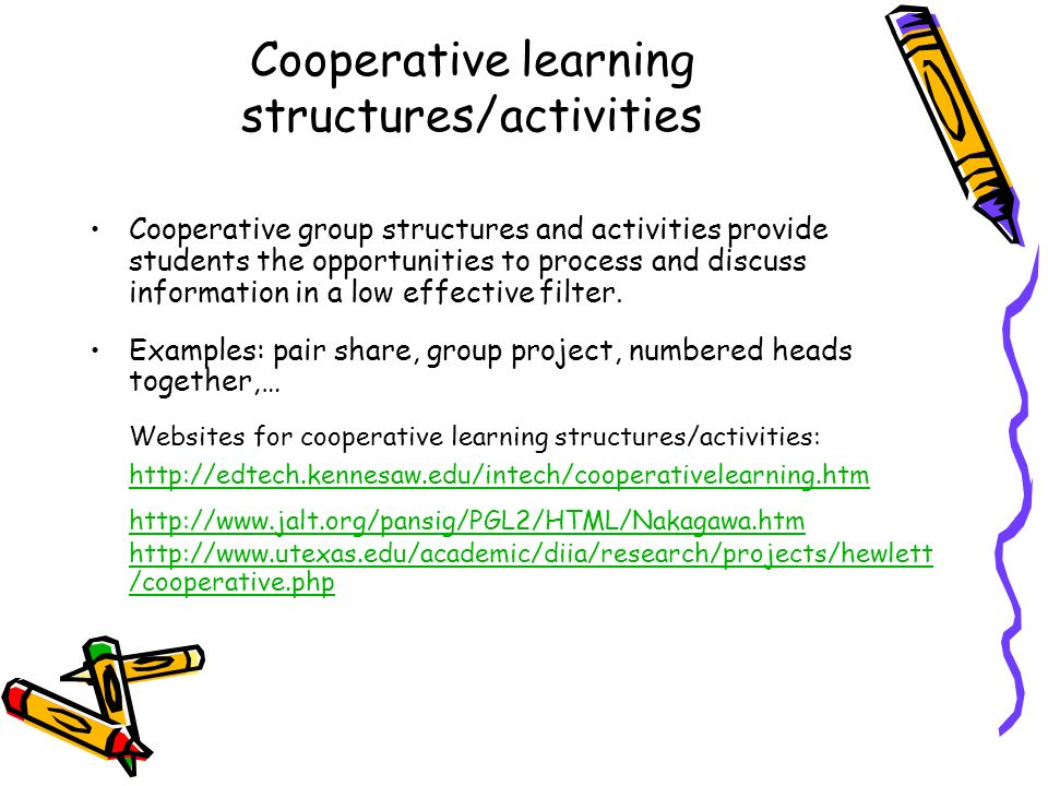 Cooperative learning structures/activities