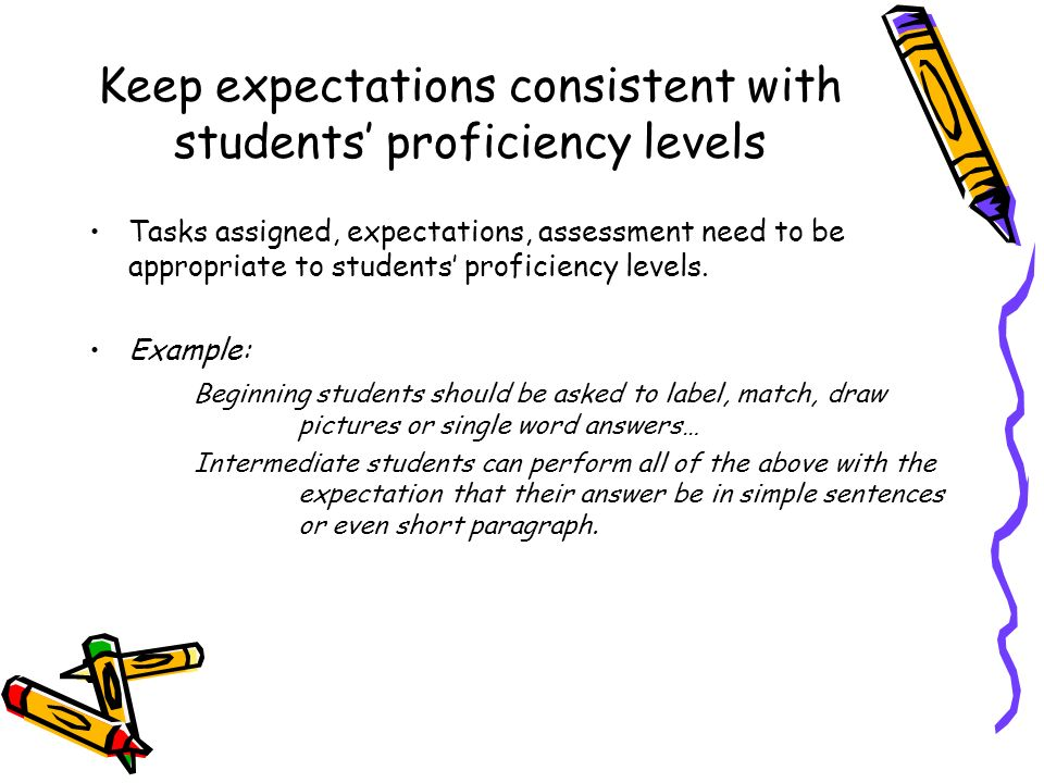 Keep expectations consistent with students' proficiency levels