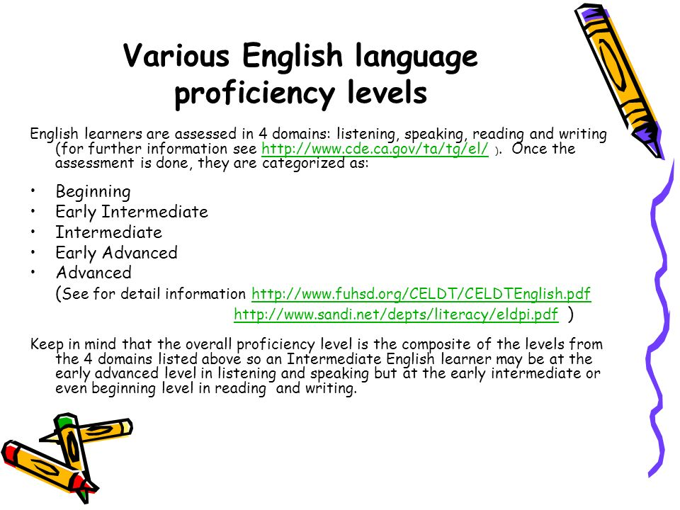 Various English language proficiency levels
