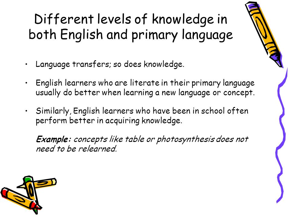 Different levels of knowledge in both English and primary language