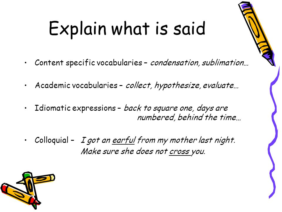 Explain what is said Content specific vocabularies – condensation, sublimation… Academic vocabularies – collect, hypothesize, evaluate…