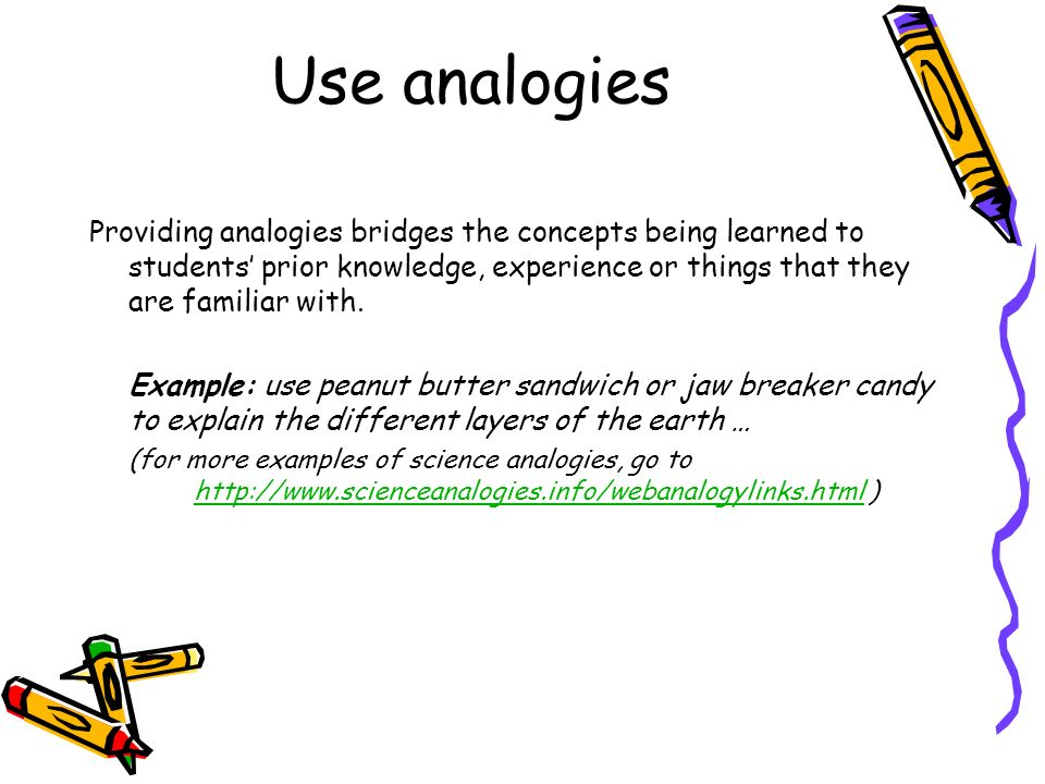 Use analogies Providing analogies bridges the concepts being learned to students' prior knowledge, experience or things that they are familiar with.