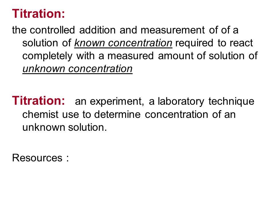 a lab experiment to determine the concentration of an unknown solution by colorimetry Beer's law lab abstract: an experiment was done to determine the concentration of a solution of nickel the absorbance of the unknown solution was measured.
