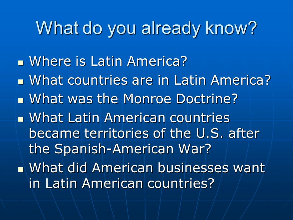 section 3 latin american wars of Chapter 17 section 3: roosevelt and latin america the united states began to exert its influence over latin america in the wake of the spanish-american war.