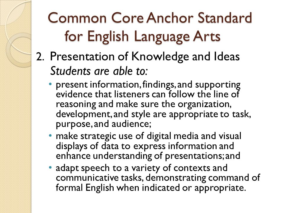 Common Core Anchor Standard for English Language Arts