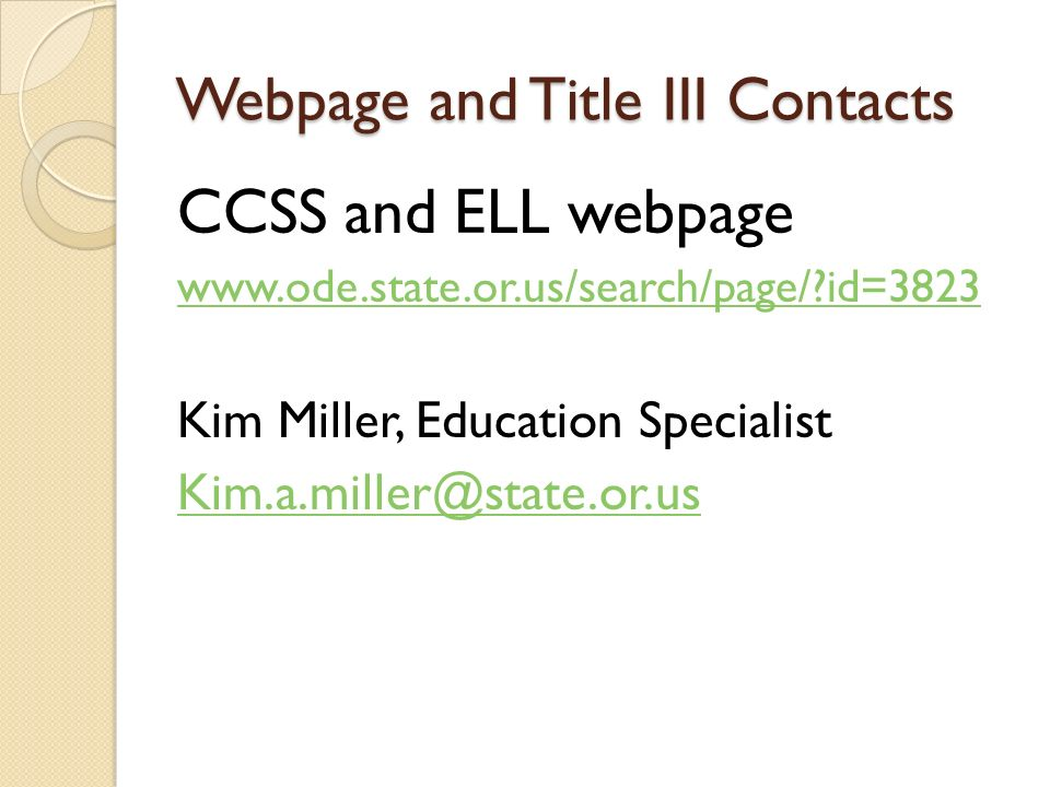 Webpage and Title III Contacts
