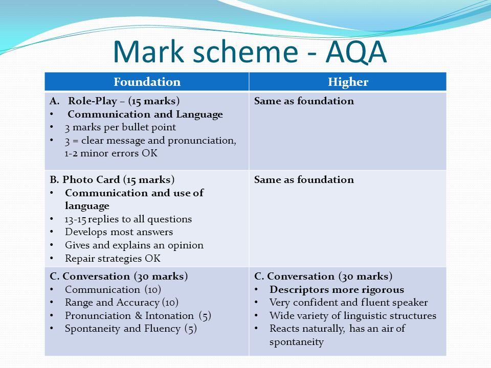 Aqa creative writing coursework mark scheme