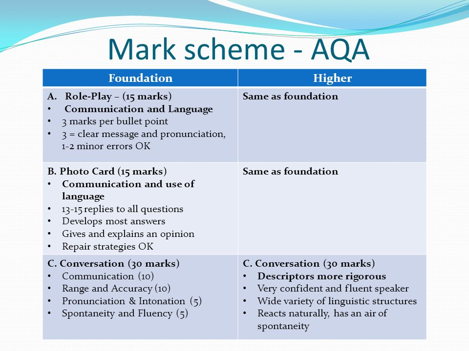 aqa french coursework mark scheme 4 scheme of assessment 17 ask aqa • past question papers and mark schemes resistant materials technology for certification from june 2014 onwards.