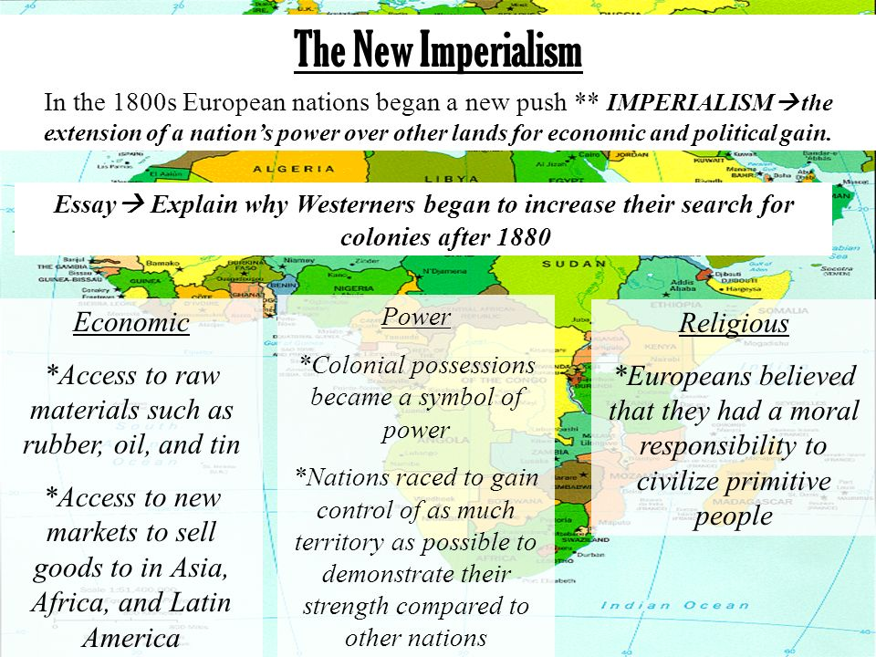 The events responsible for new imperialism essay