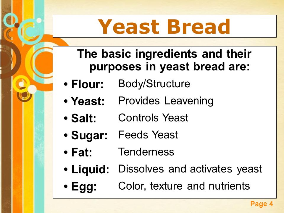 Breads free powerpoint templates ppt video online download the basic ingredients and their purposes in yeast bread are toneelgroepblik Images