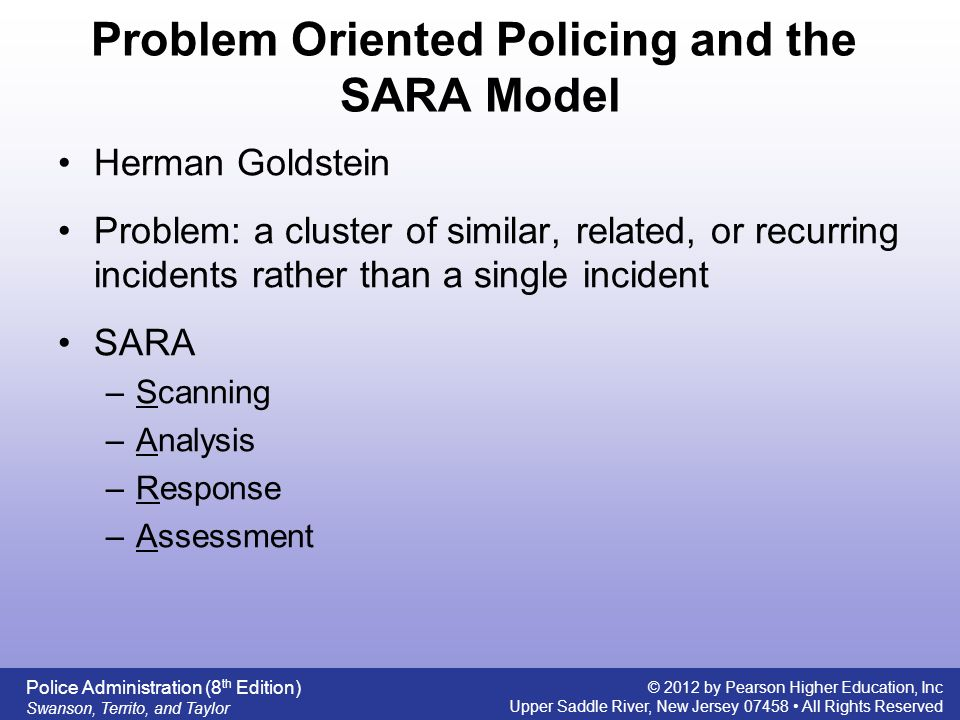 problem oriented policing Problem-oriented policing and crime prevention by anthony a  braga criminal justice press monsey, new york, usa 2002.