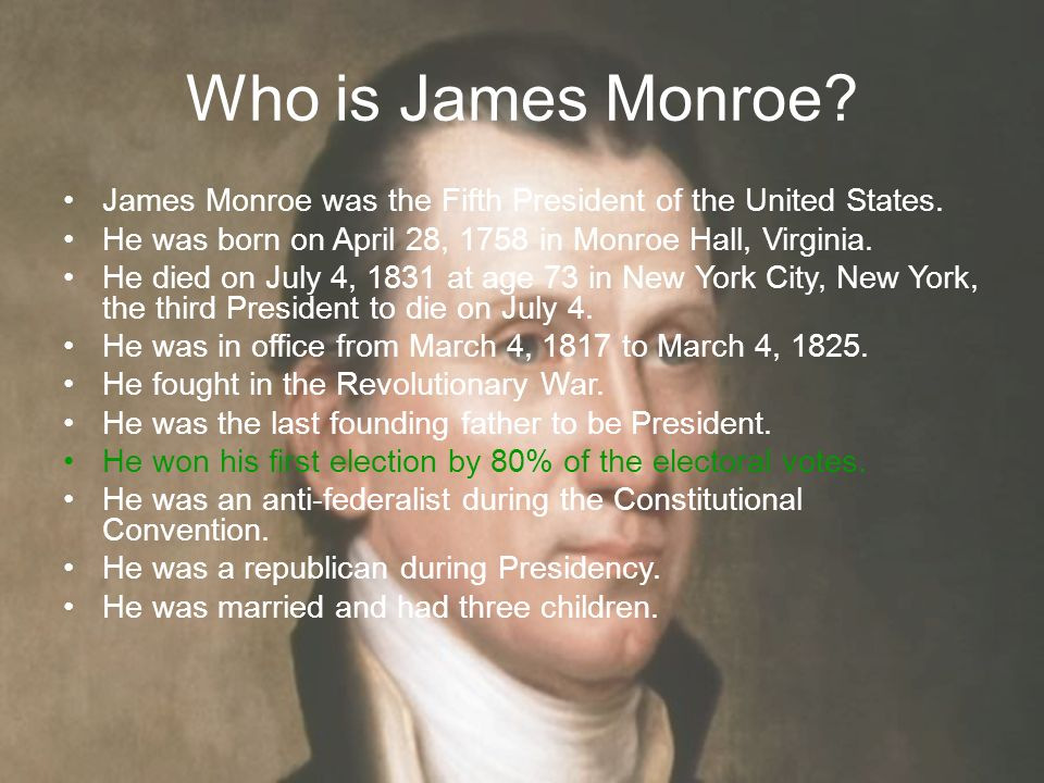 the start of the era of sectionalism during james monroes presidency Despite this era of good feeling, the underlying issues which would eventually result in the civil war arose during monroe's presidency the petition to admit missouri, a border state, as a slave state brought those issues of the fore.