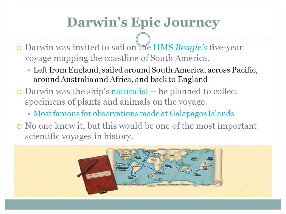 Darwin's Epic Journey Darwin was invited to sail on the HMS Beagle's five-year voyage mapping the coastline of South America.