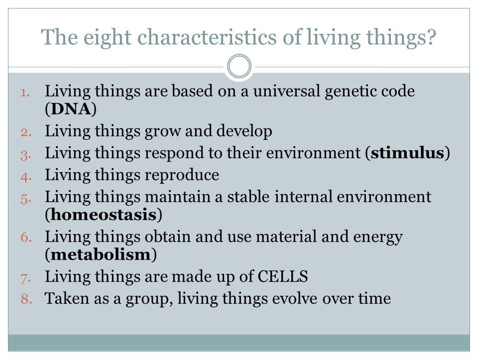 The eight characteristics of living things