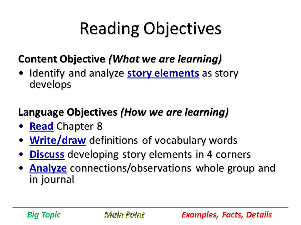u s history objectives and vocabulary States may provide specific content objectives aligned with the state's spe-  4 content and language objectives  developing health-related vocabulary,.