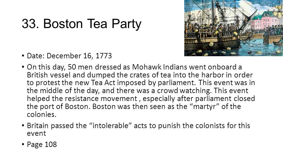 Tea act date in Perth