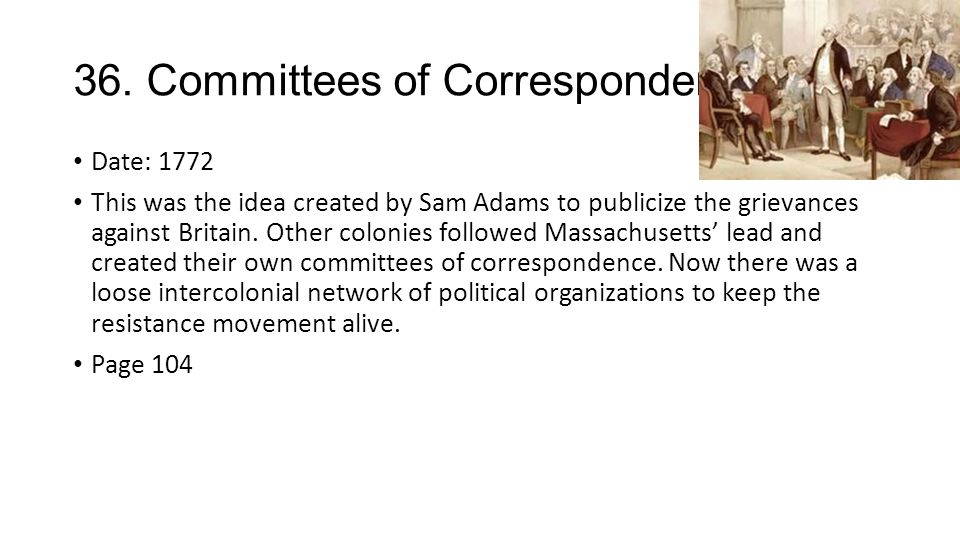 Committees of correspondence date