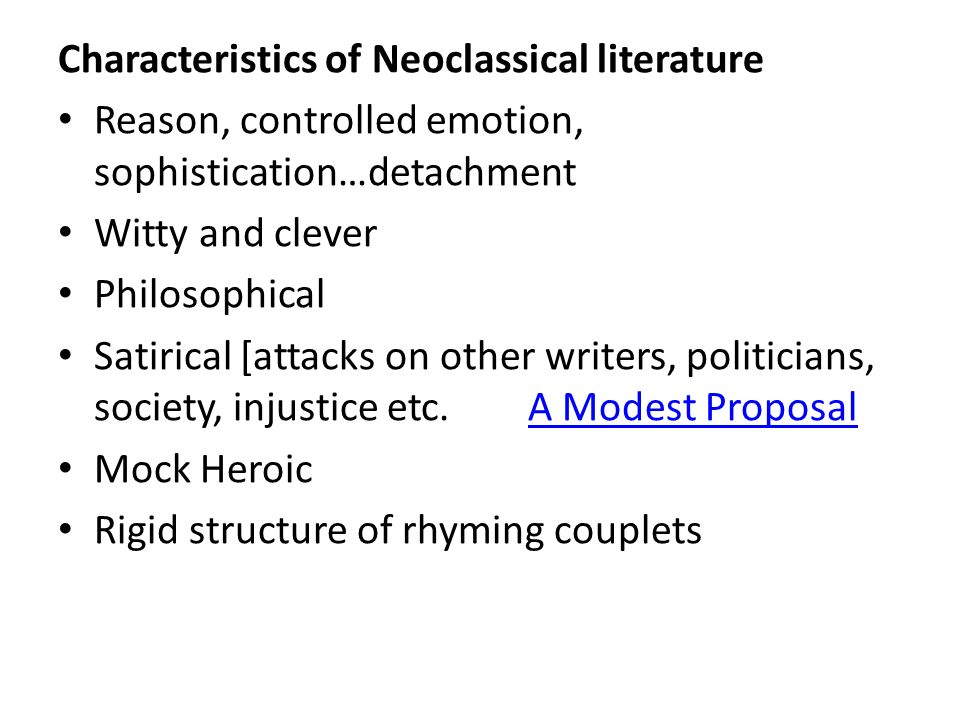 neoclassical poetry Neoclassicism is the name given to western movements in the decorative and  visual arts, literature, theatre, music, and architecture that draw inspiration from.